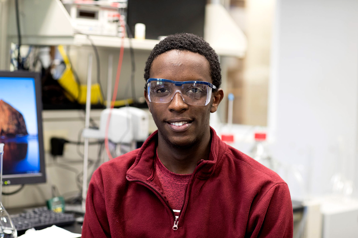 First-year student Kevin Bahati is a member of the National Society of Black Engineers and plans to major in chemical engineering. (Photo by Dan Addison, University Communications)