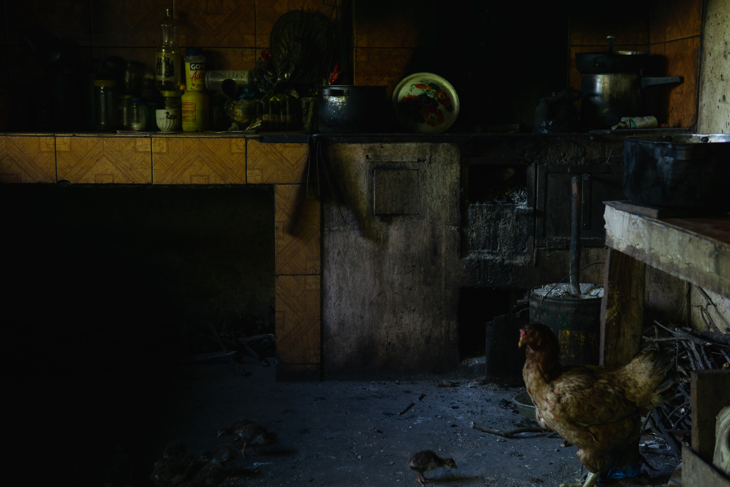 A Paraguayan kitchen in the countryside where chickens roam free.