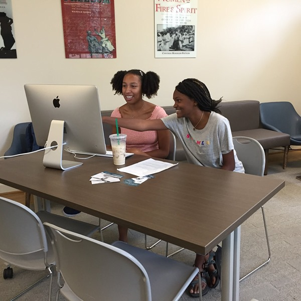 Laila Hurd and Zhaire Roberson, local high school students, worked on the Julian Bond digital project as interns this summer for the Woodson Institute's Citizen Justice Initiative.