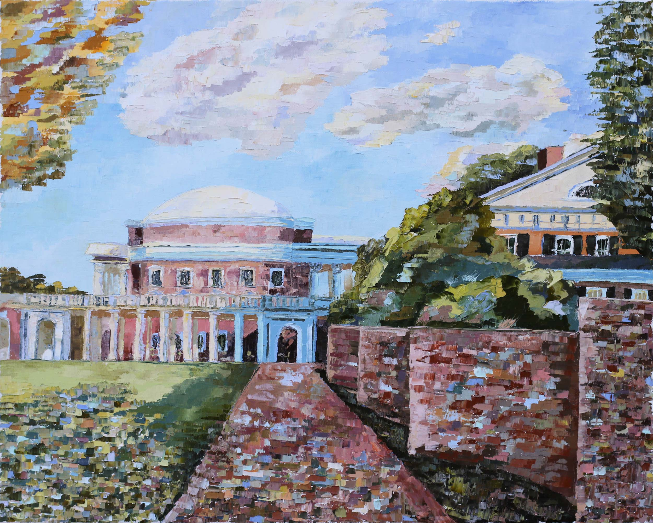 "Davis' ""Rotunda and Pavilion I"" portrays the idea that ""as [UVA] encompasses the uncertainty and learning of so many distinct personalities, each form overflows with infinitely varying texture and hue."""
