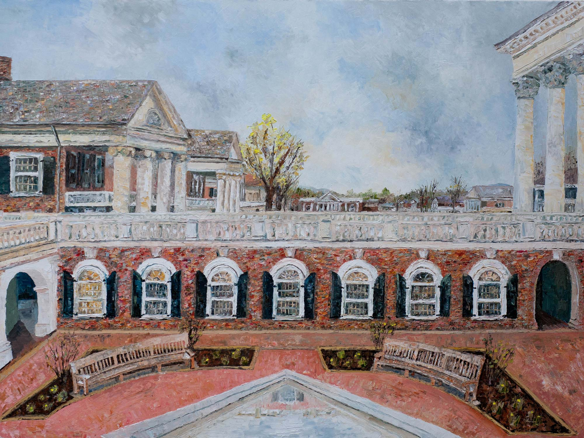 "Davis' painting, ""University Landscape,"" ""encompasses the multiple avenues and perspectives of the academic experience,"" she said. ""Perhaps a bit idealized, the landscape celebrates the beauty of the University architecture."""
