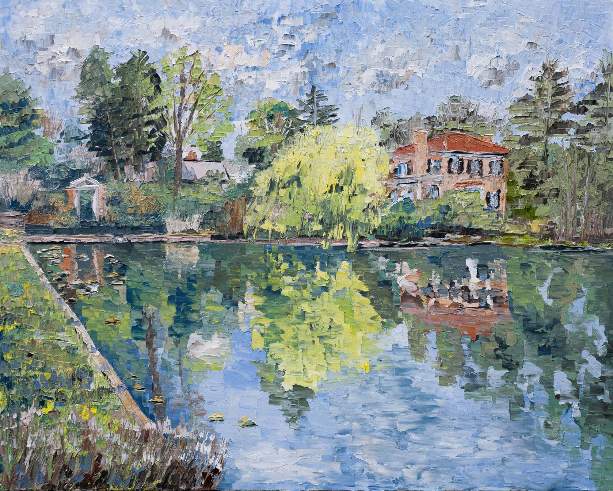 """Dell Pond."" Davis' take: ""The pond itself is one of my favorite places on Grounds, as an example of sun-basked serenity unbothered by rush hour on Emmet Street."""