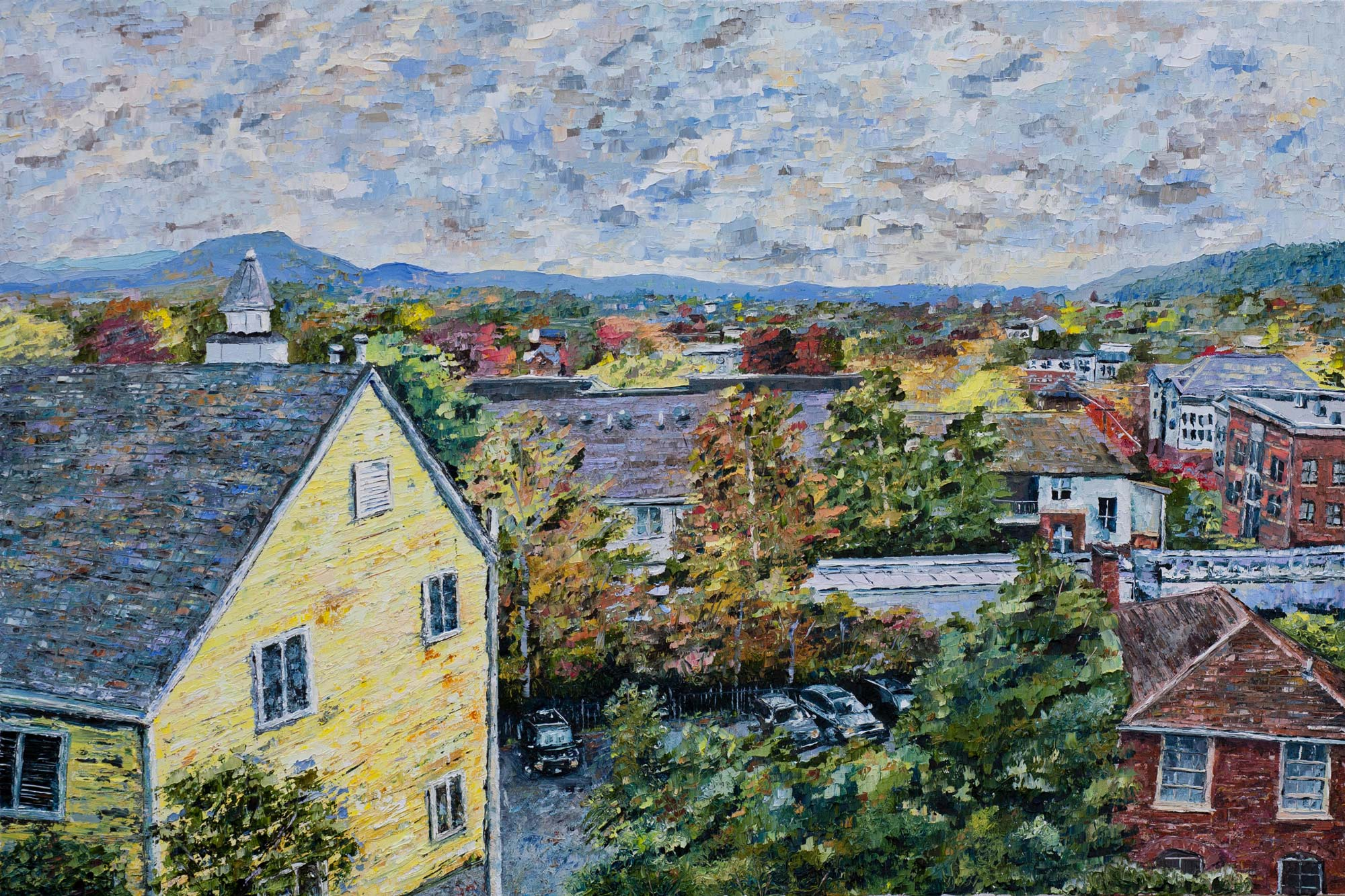 """Autumn View on Chancellor Street."" Davis' take: ""This painting captures my University experience beyond the University – my community and my cityscape."""