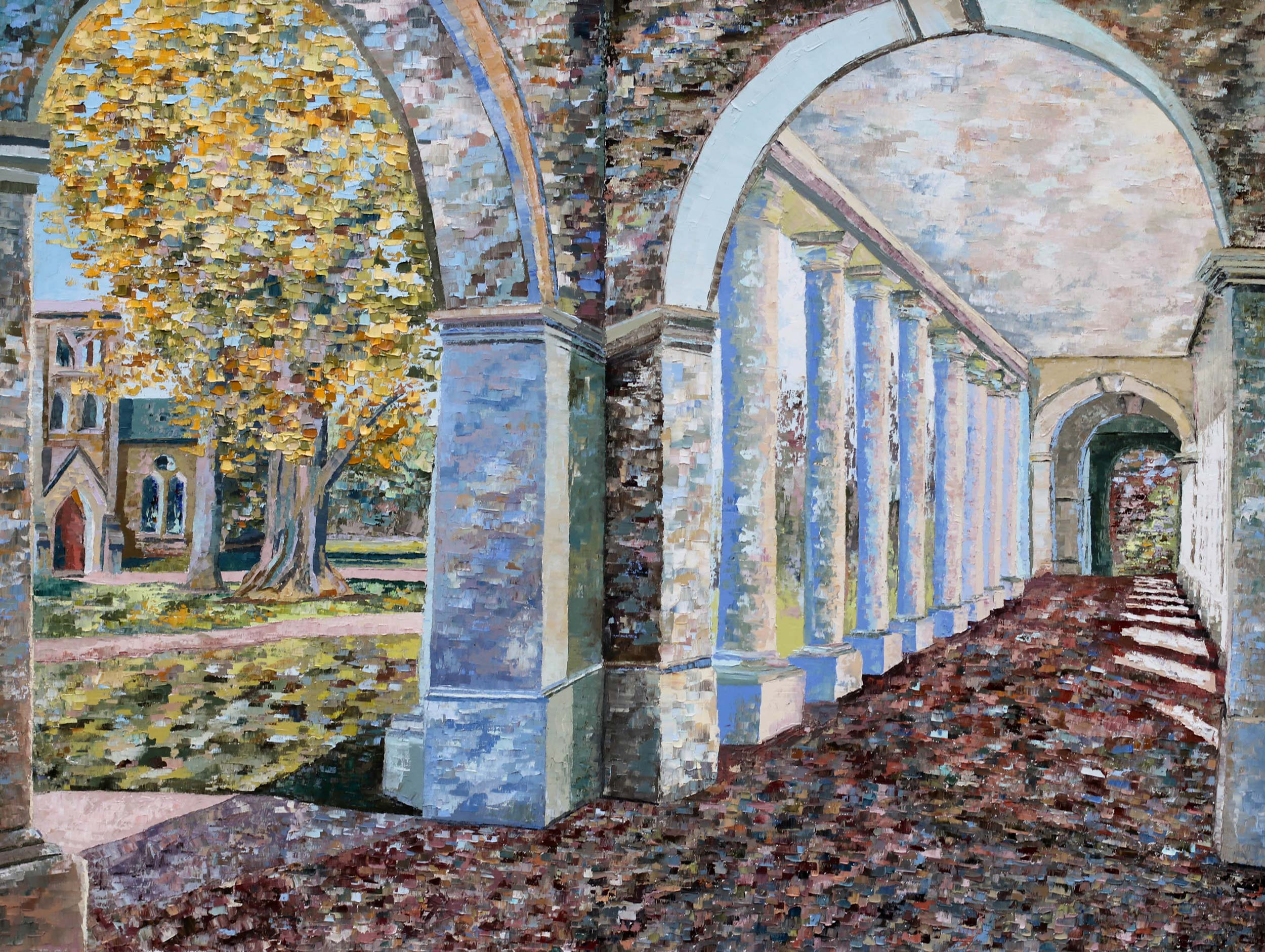 "Davis' ""favorite piece in the exhibition"" is ""Pratt Ginkgo (X),"" a ""culmination of a yearlong series which studies a beloved yellow tree planted between the Rotunda and the Chapel."""