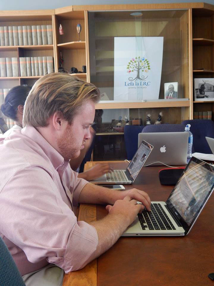 Jeremy Lofthouse conducts research on mine closures at the Legal Resources Centre office.