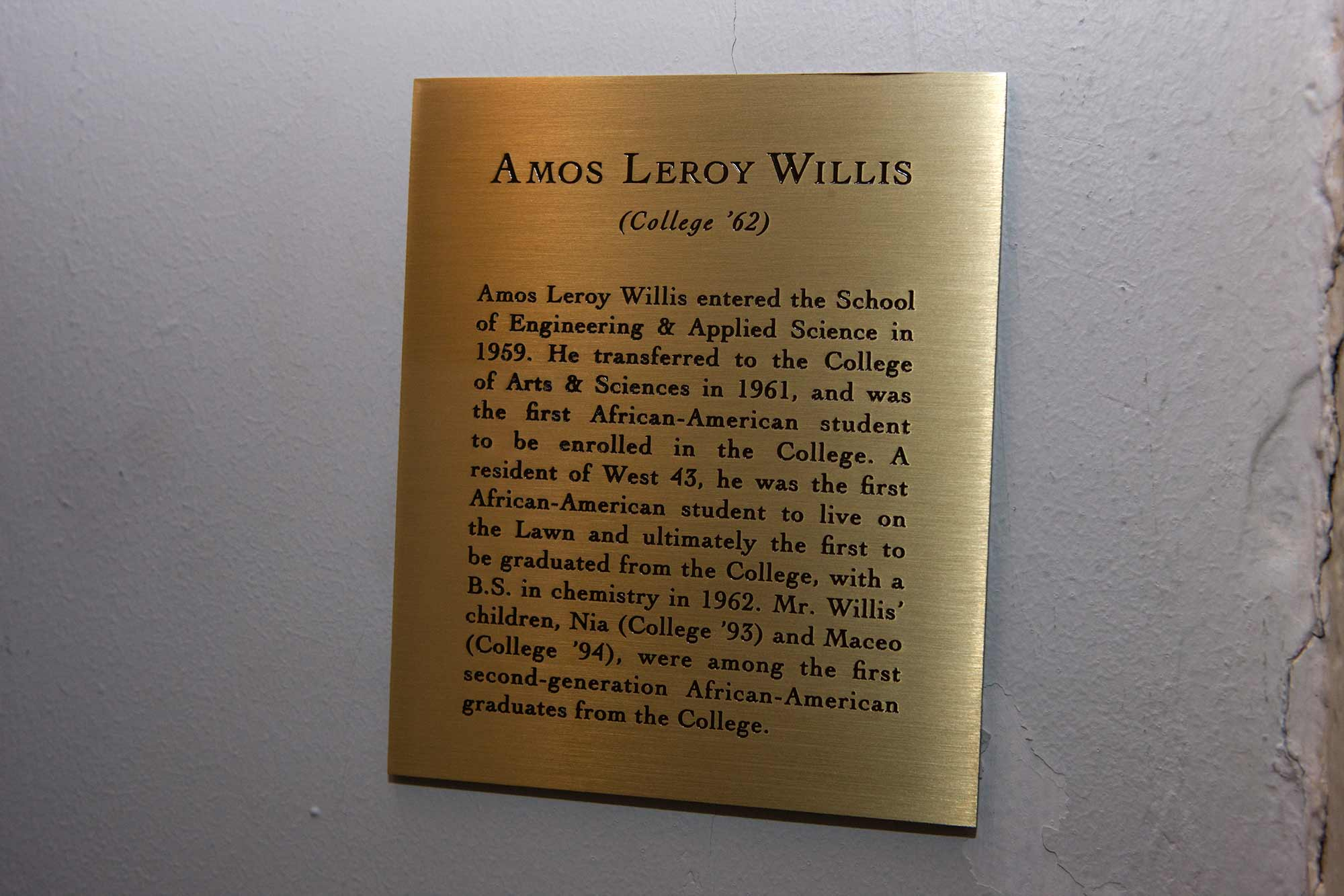 Willis tribute plaque