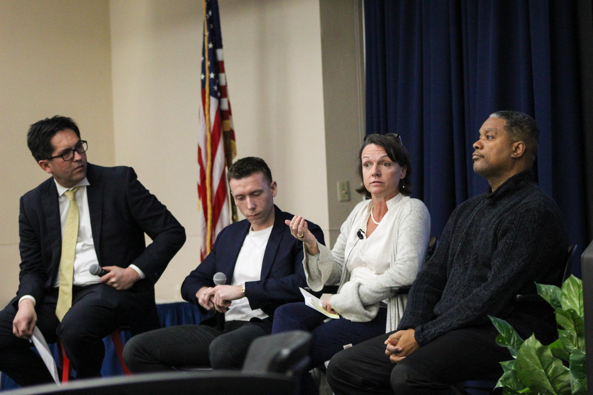 From left: Dean Alex Hernandez, Josh Pritchett, Tierney Fairchild and Gerard Robinson discussed how education can help keep people from returning to prison.