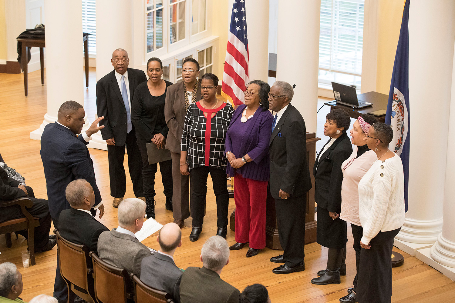 Rev. Xavier Jackson, a 1987 UVA alumnus, led a choir from the Chapman Grove Baptist Church who sang for the crowd that filled the Rotunda Dome Room on Sunday for the Liberation and Freedom Day and Memorial to Enslaved Laborers ceremonies.