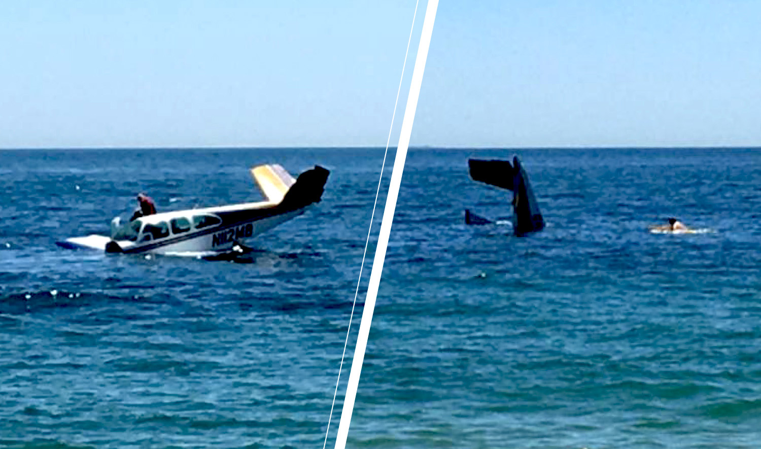 The plane's pilot tried to make it to an airport before ditching in the ocean to avoid beachgoers. He escaped the rapidly sinking plane with minor injuries.