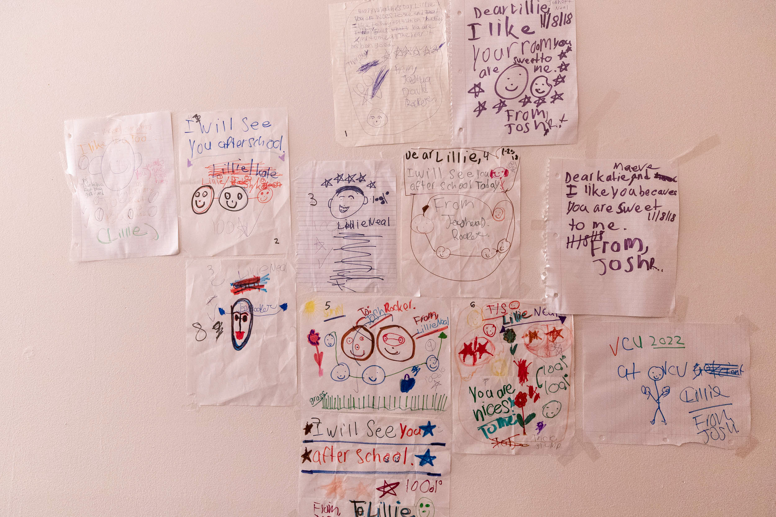 Rocker loves art and adores Neal. He has written her several fond notes, which Neal hangs on her bedroom walls.