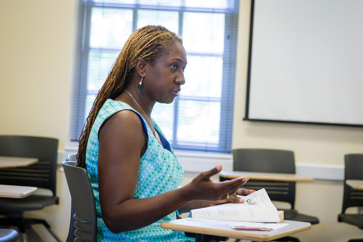 "English professor Lisa Woolfork's ""Black Writers in America"" course was a student favorite. (Photo by Cole Geddy)"