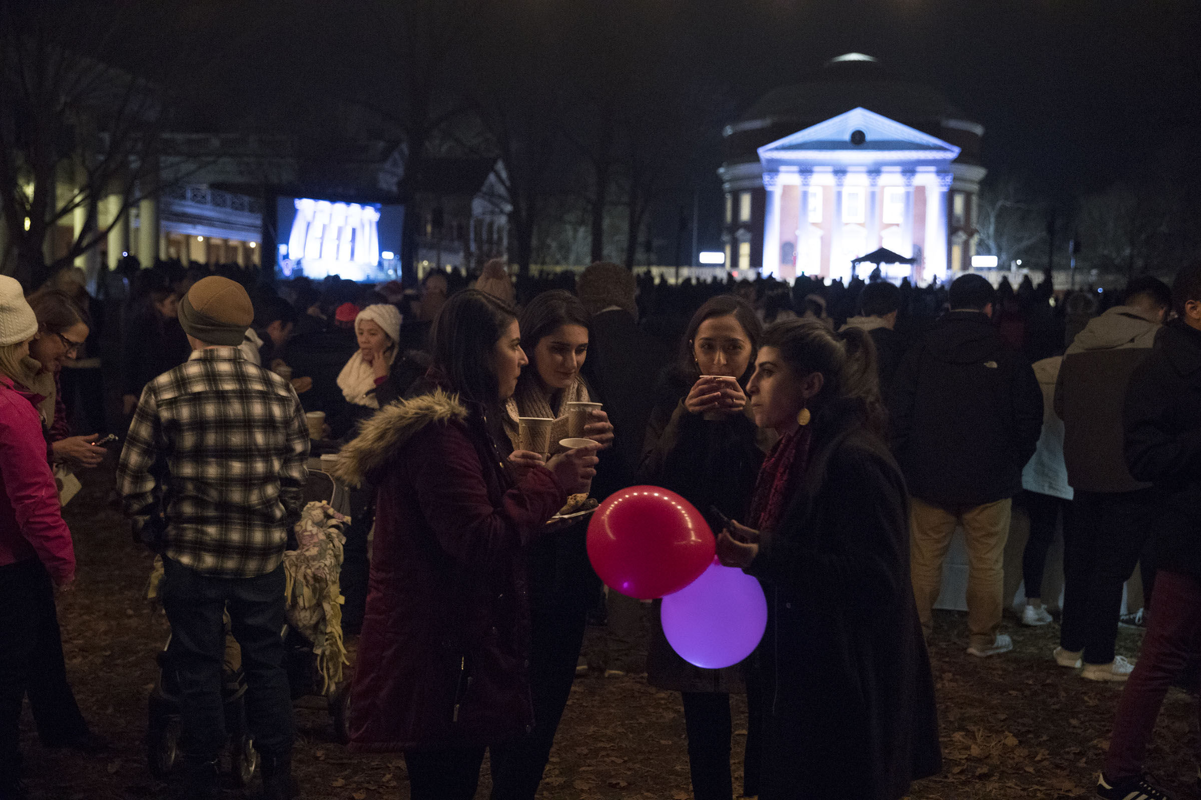 Revelers were invited for free cookies, hot chocolate and apple cider.