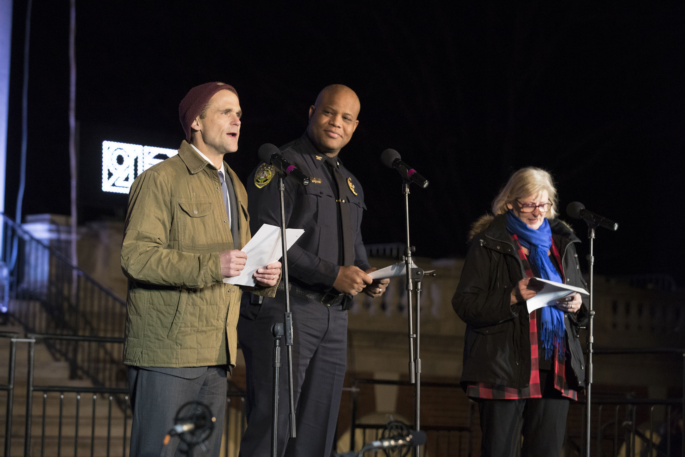 Each year students write a special poem and invite surprise guests to recite it. This year President Jim Ryan, Nursing School Dean Dorie Fontaine and University Police Chief Tommye Sutton did the honors.