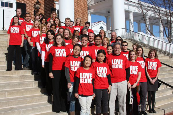 "Students at the Darden School of Business wearing ""Love is Love"" shirts during 2010, the second year of the campaign. (Contributed photo)"