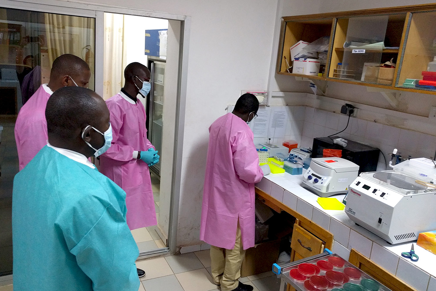 Researchers in Mali analyze samples as part of the study.