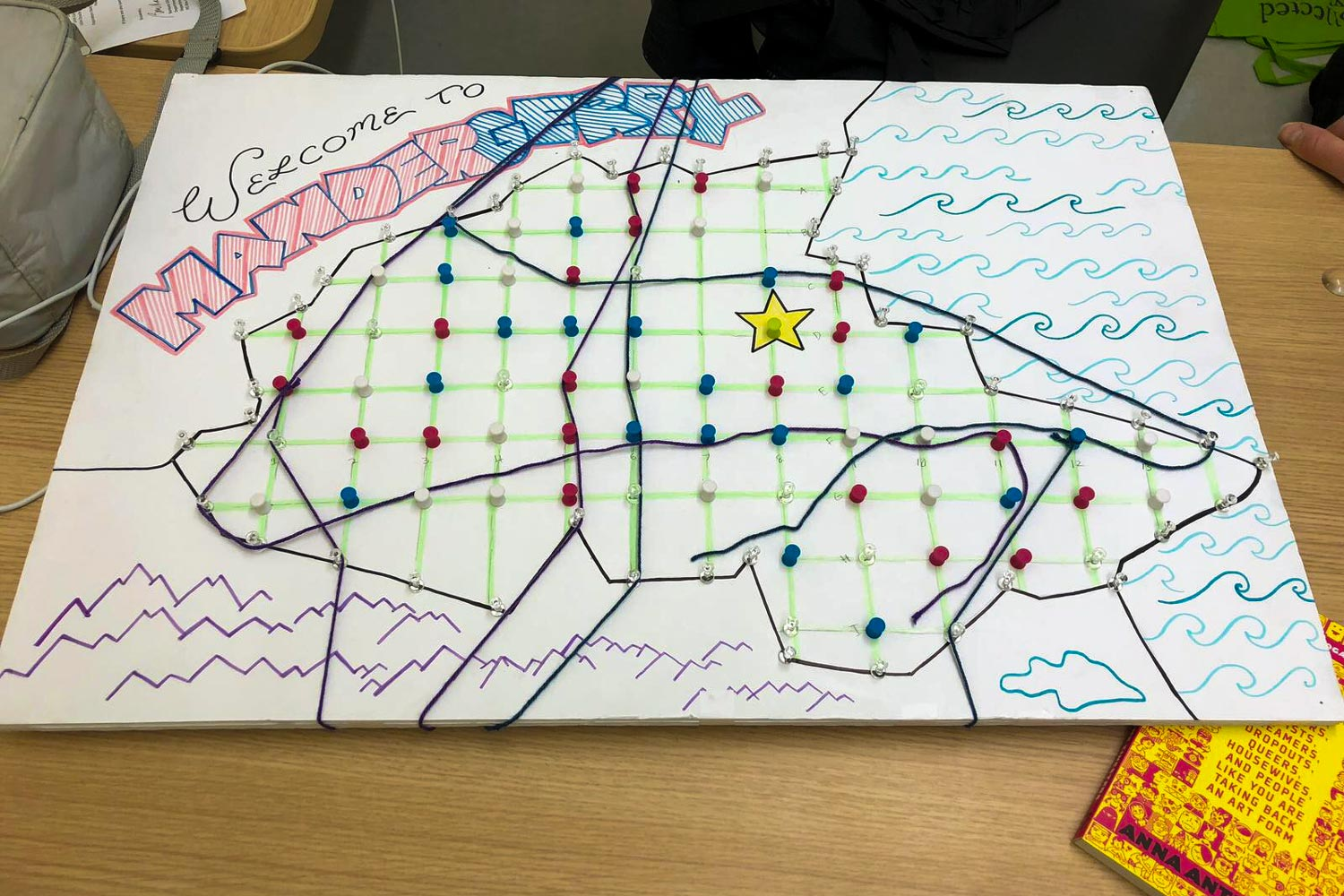 A prototype made by students Christian Baumgardner, Clara Doley, Eve Fidler, Quinn Lyerly and Jake Vanaman has players engage in gerrymandering.