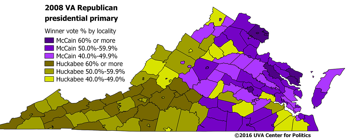 Map 1: 2008 Virginia Republican presidential primary. Source: Dave Leip's Atlas of U.S. Presidential Elections