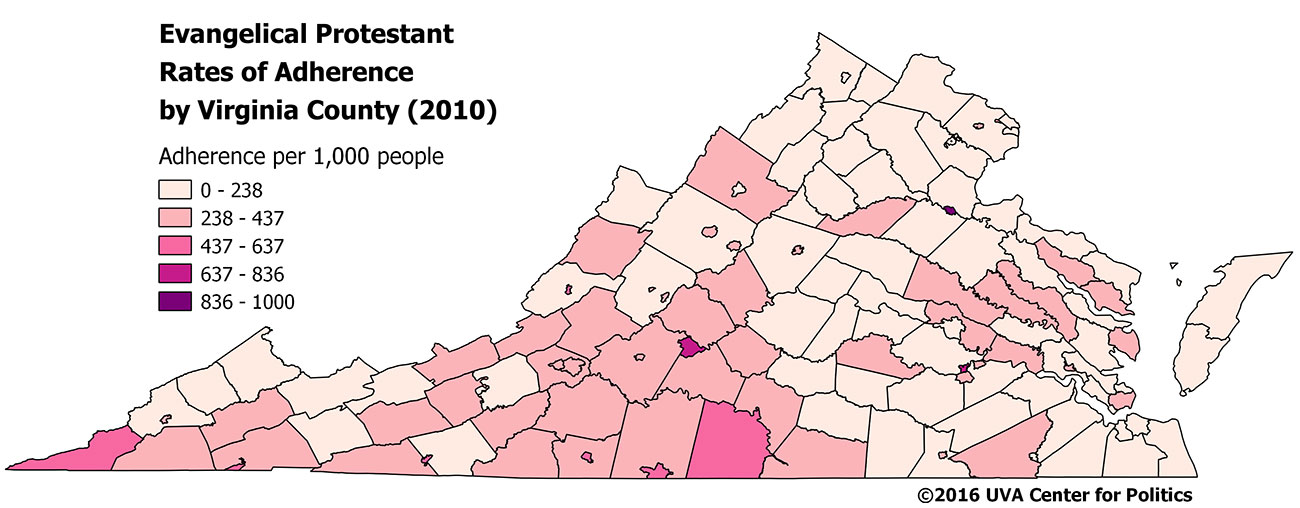 Map 2: Virginia Evangelical Protestant Rates of Adherence per 1,000 people, 2010.