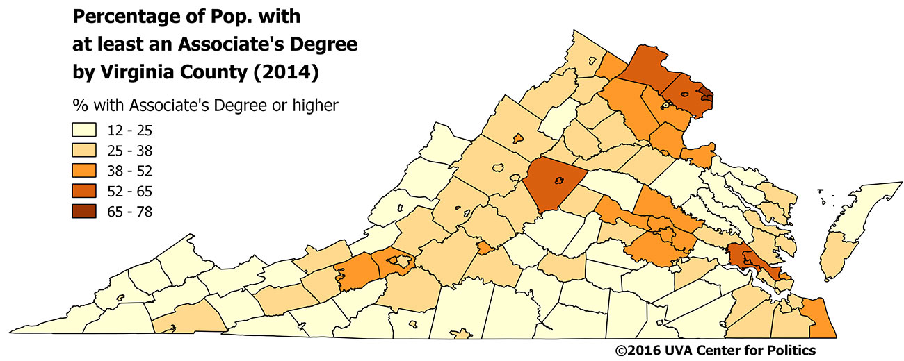 Map 3: Virginia college graduate percentage by county, 2014.