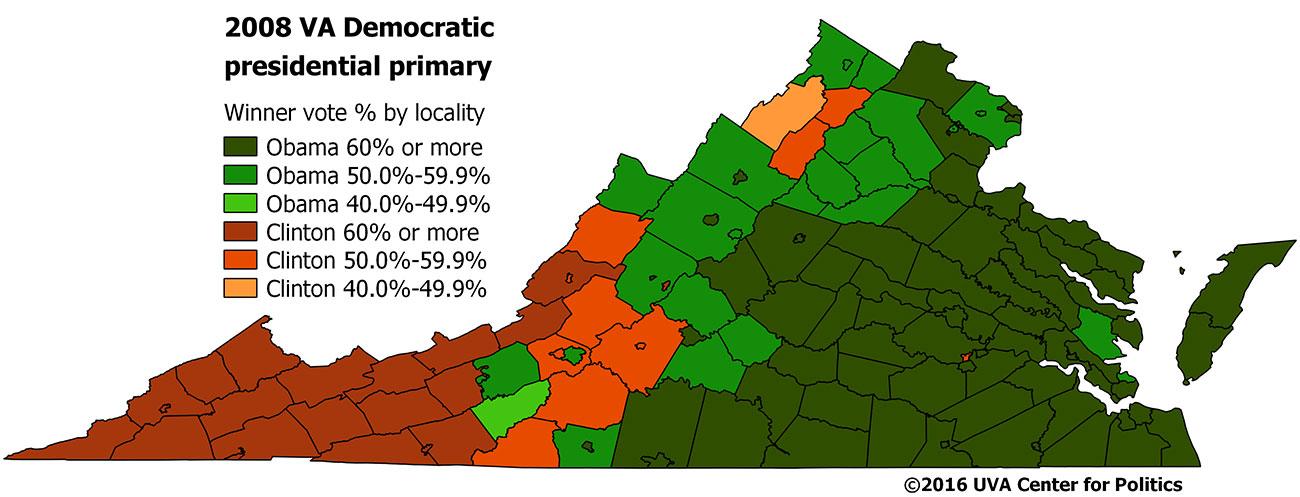 Map 5: 2008 Virginia Democratic presidential primary.