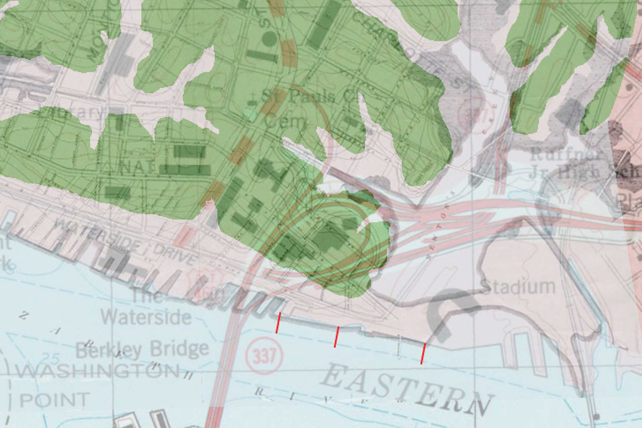 The above map shows areas around Harbor Park that were originally land – in green – and areas that used to be water but were filled in during industrial development – in gray. The gray areas are extremely vulnerable to flooding and sea-level rise.