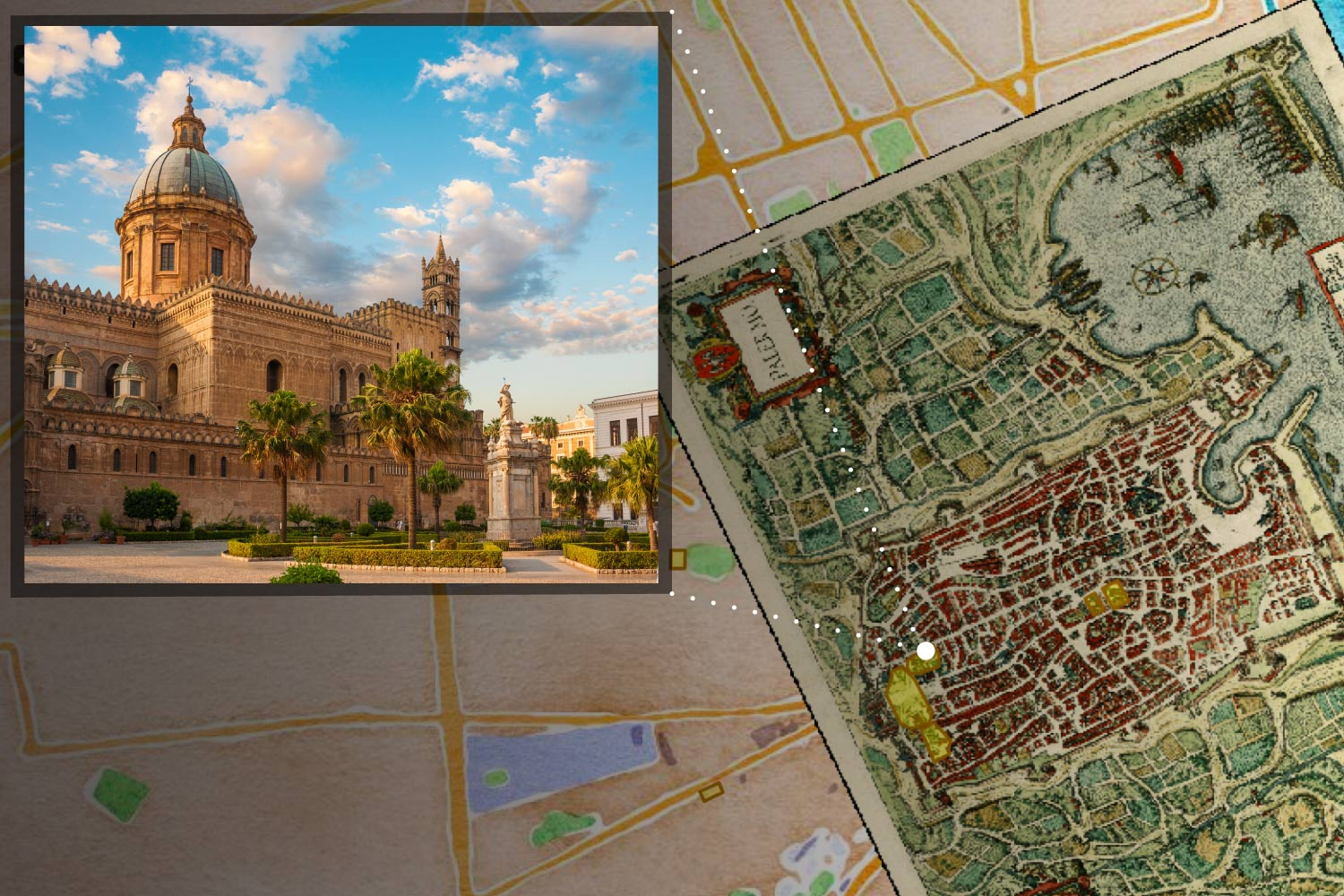 This rendering of Neatline elements shows an image of the Cathedral of Palermo and its location on the medieval map of the city. Lisa Reilly's architectural  project has a full description of the cathedral that appears when it is clicked on the map.
