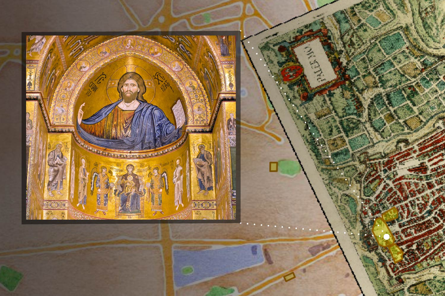This rendering of a Neatline element displays an inner mosaic in the Cappella Palatina in Palermo.