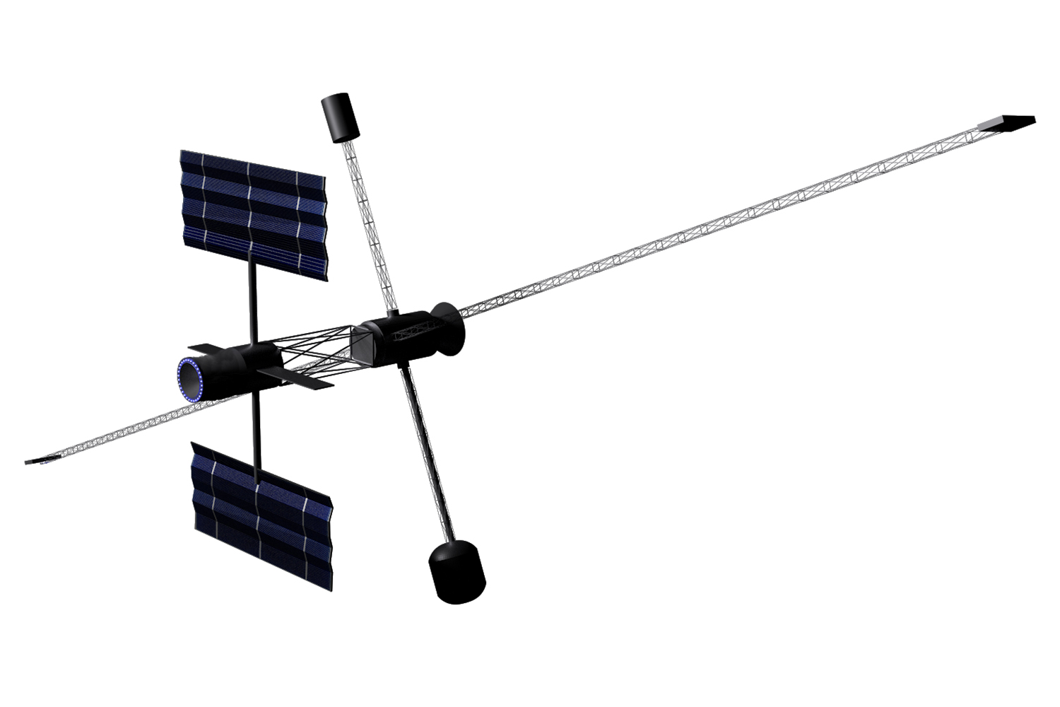 The team designed its spacecraft with solar panels on one end and two main capsules that rotate to simulate gravity.