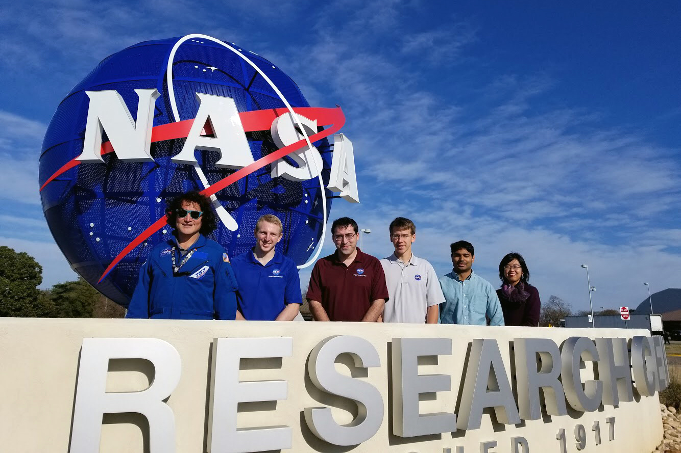 Tian, far right, and fellow interns at NASA's Langley Research Center.