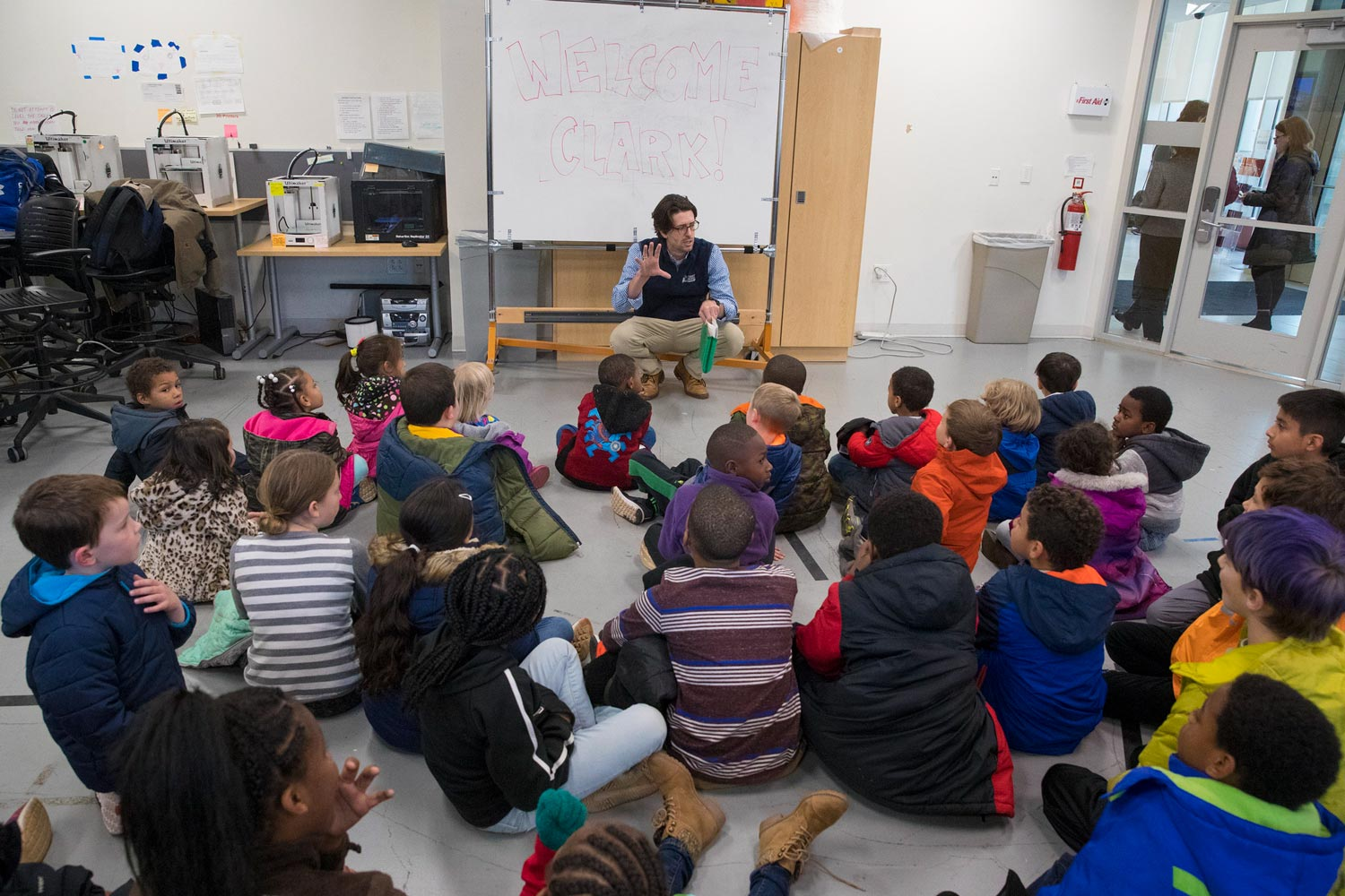 Engineering professor Reid Bailey explains to Clark Elementary students how they have participated in engineering.