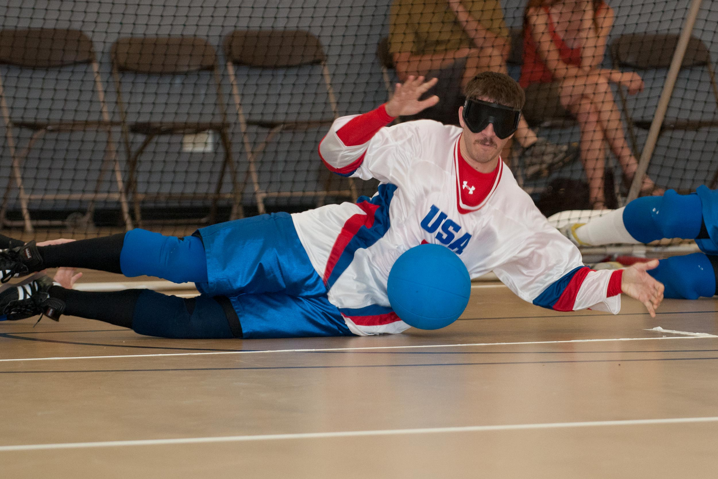 "Simpson is adept at ""mentally mapping"" the goalball court, according to his coach. (Photo by Hal Simpson)"
