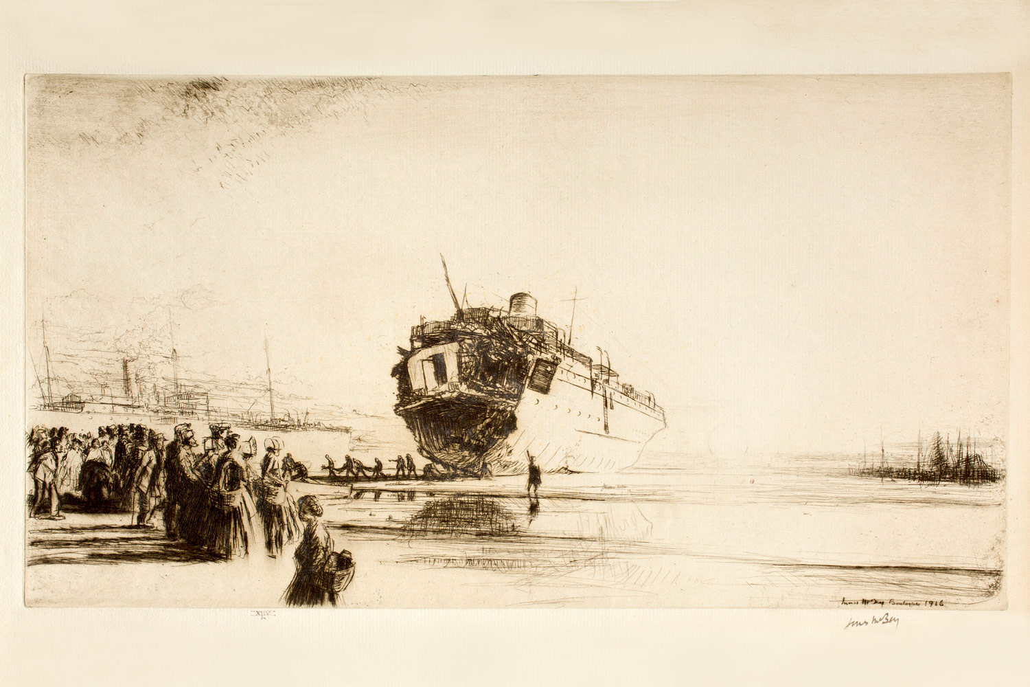 James McBey: The Sussex, 1916. Etching, promised gift of Frank Raysor. © Virginia Museum of Fine Arts