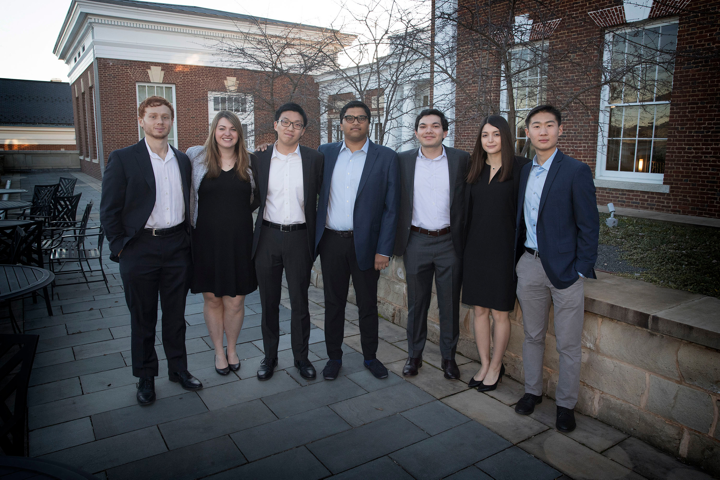 Student managers Josh Blutfield, Joanna Shaw, Nathan Lin, Abhijith Chaganti, Christopher DeSouza, Marisa Lombardi and Richard Song. Not pictured: Donny Waymire, Aneesh Reddy, Ronald Diu. (Photo by Dan Addison, University Communications)
