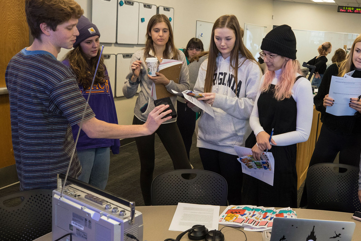 """We've come a long way from the Walkman, but students can still trace """"The Walkman Effect."""" Photo by Dan Addison, University Communications)"""