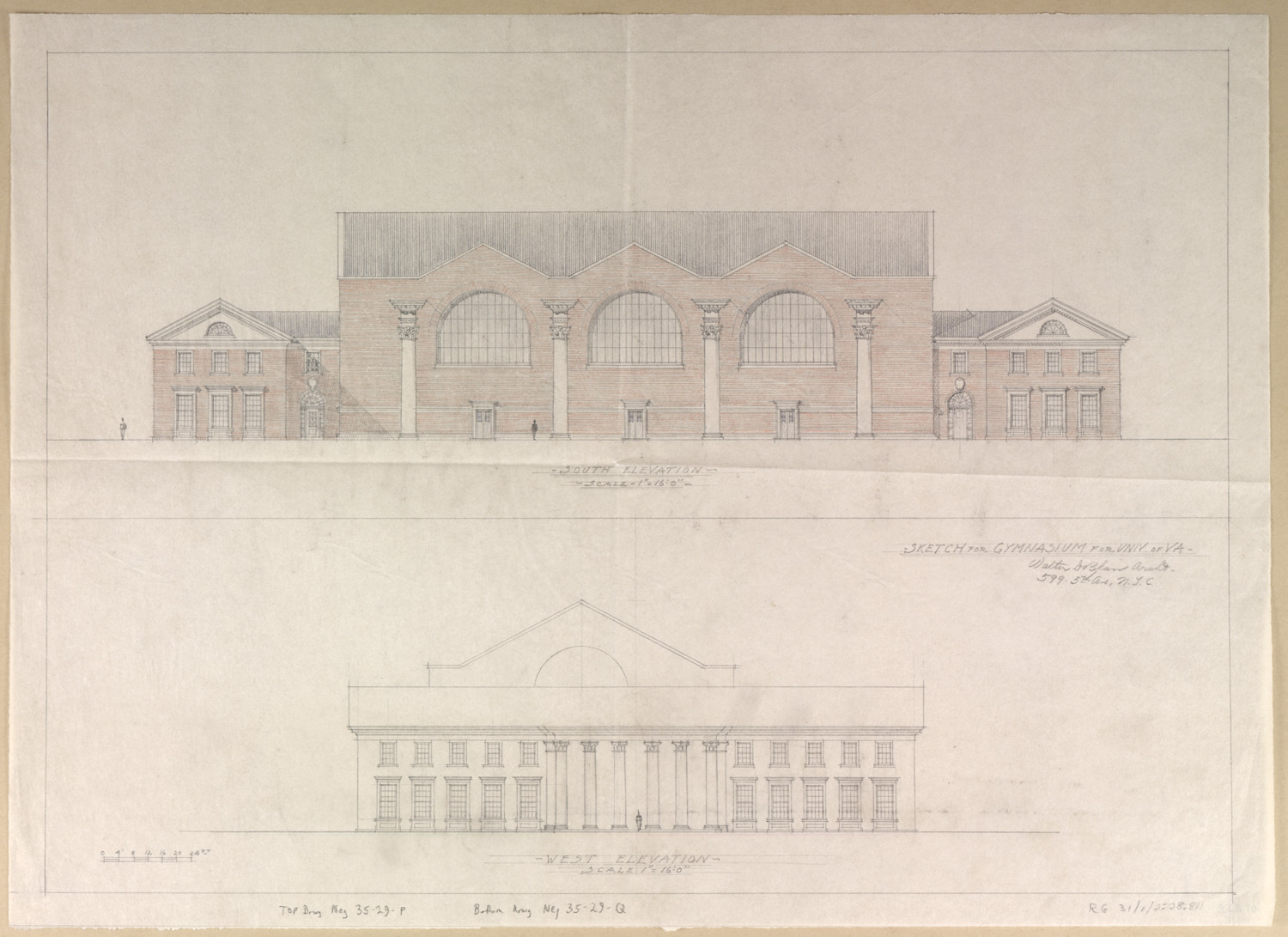 This version of Memorial Gymnasium was similar in design to the one actually built, though the actual version includes five peaked bays instead of the three pictured here. (Source: Albert and Shirley Small Special Collections Library_