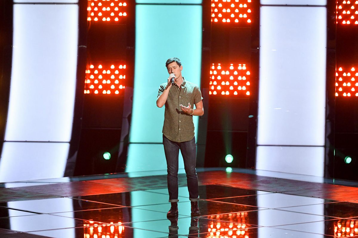"Micah Iverson performs in ""The Voice,"" blind audition episode earlier this month. (Photo courtesy of ""The Voice"")"