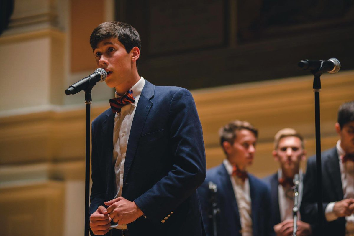 Micah Iverson performs a solo in Old Cabell Hall in 2016, his fourth year at UVA. (Photo contributed by Micah Iverson)
