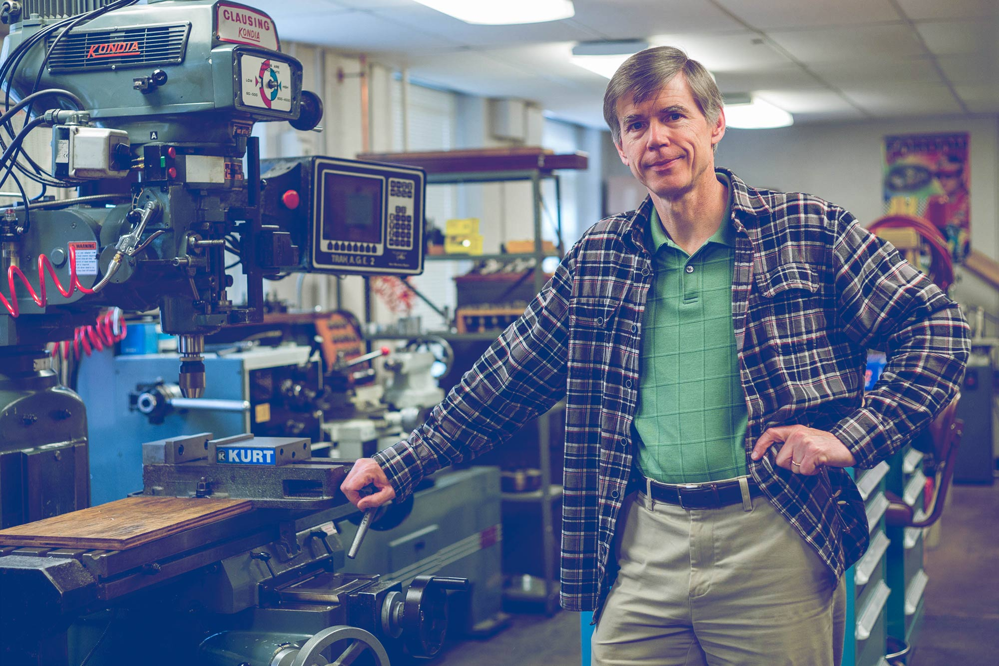 Michael Skrutskie, astronomy department chair, in the instrumentation lab he established.