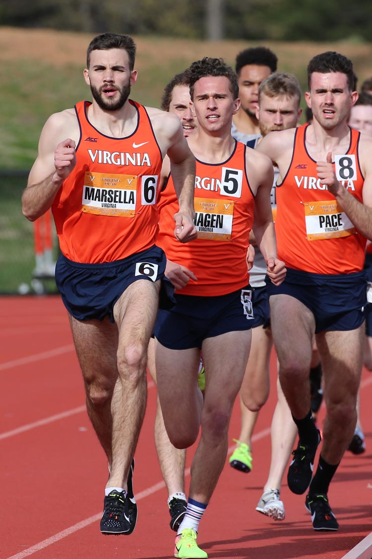 Marsella became the third runner in UVA history to run a mile in under 4 minutes, accomplishing the feat at a 2015 meet at Boston University. (Image courtesy Virginia Athletics)