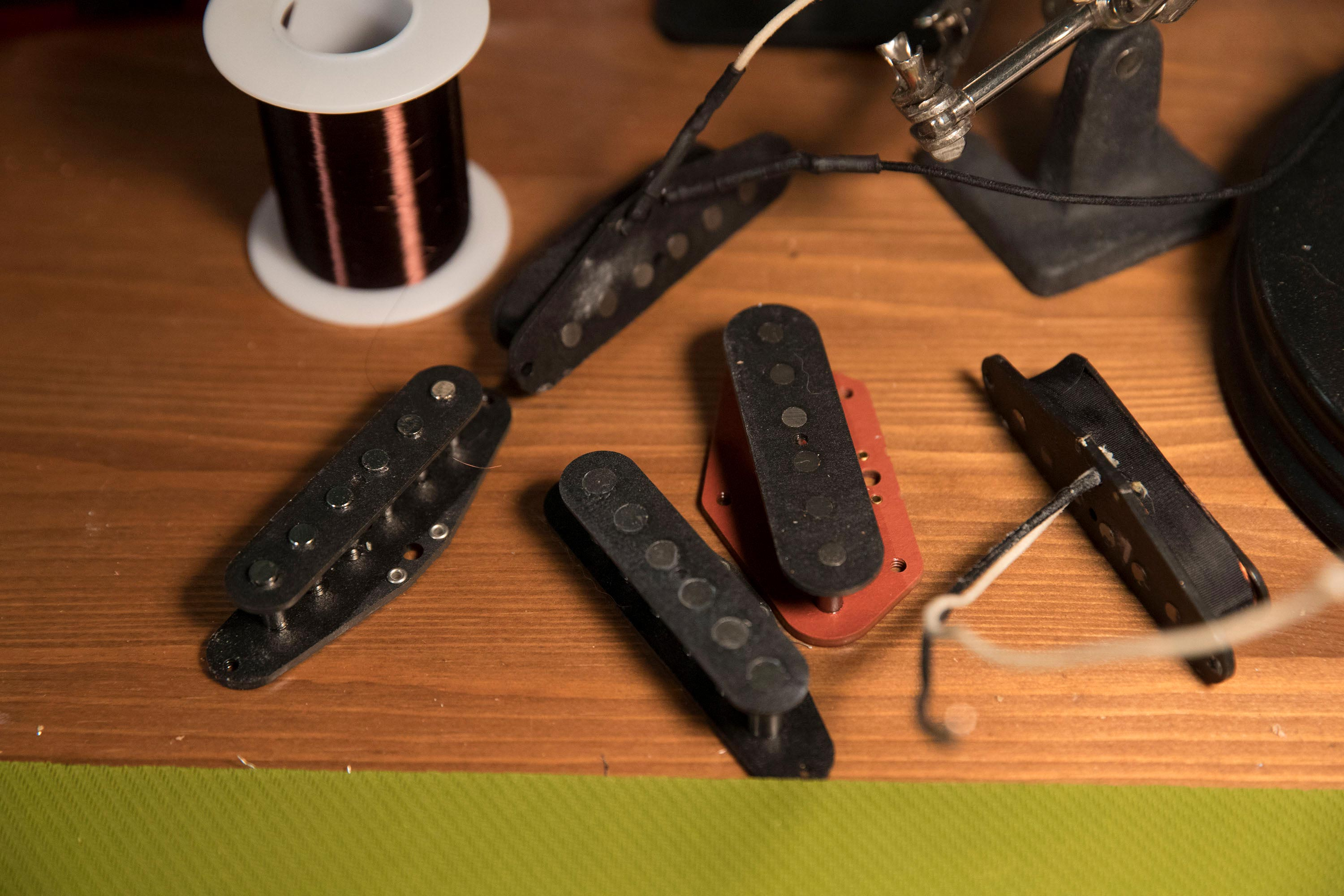 Homemade pick-ups set Efron's guitars apart from the rest and provide the best sound possible.