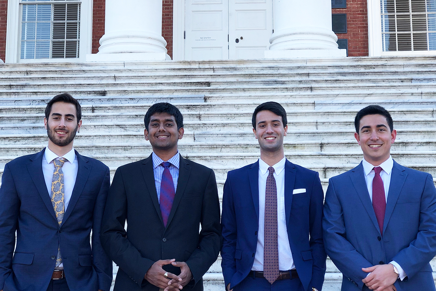 Biomedical engineering students, from left, Eric Taleghani, Rohit Rustagi, Alexander Singh and George Vithoulkas are working on technologies to diagnose and treat scoliosis.