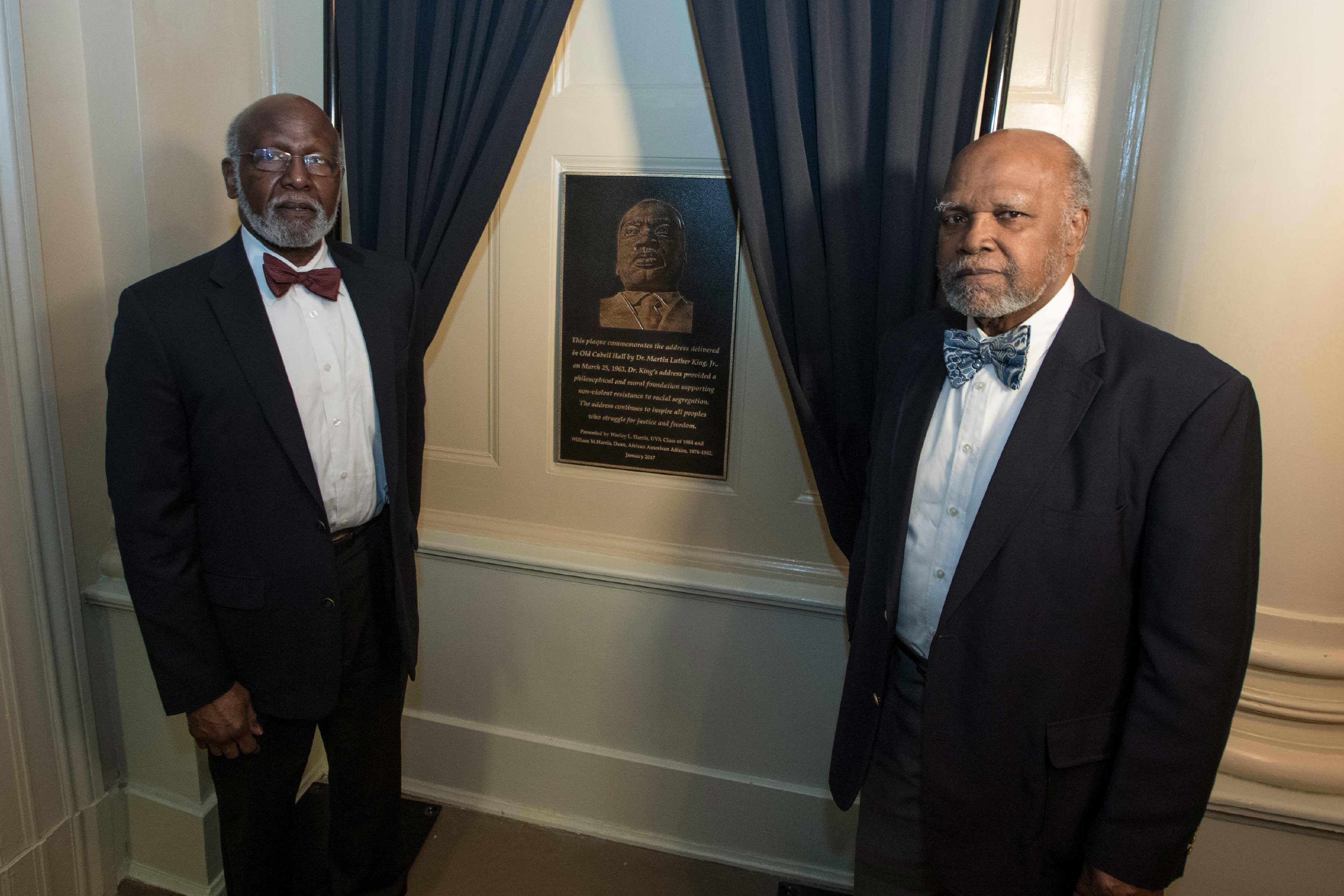 Siblings Wesley and William Harris donated a plaque commemorating King's 1963 speech at UVA. (Photo by Dan Addison, University Communications)