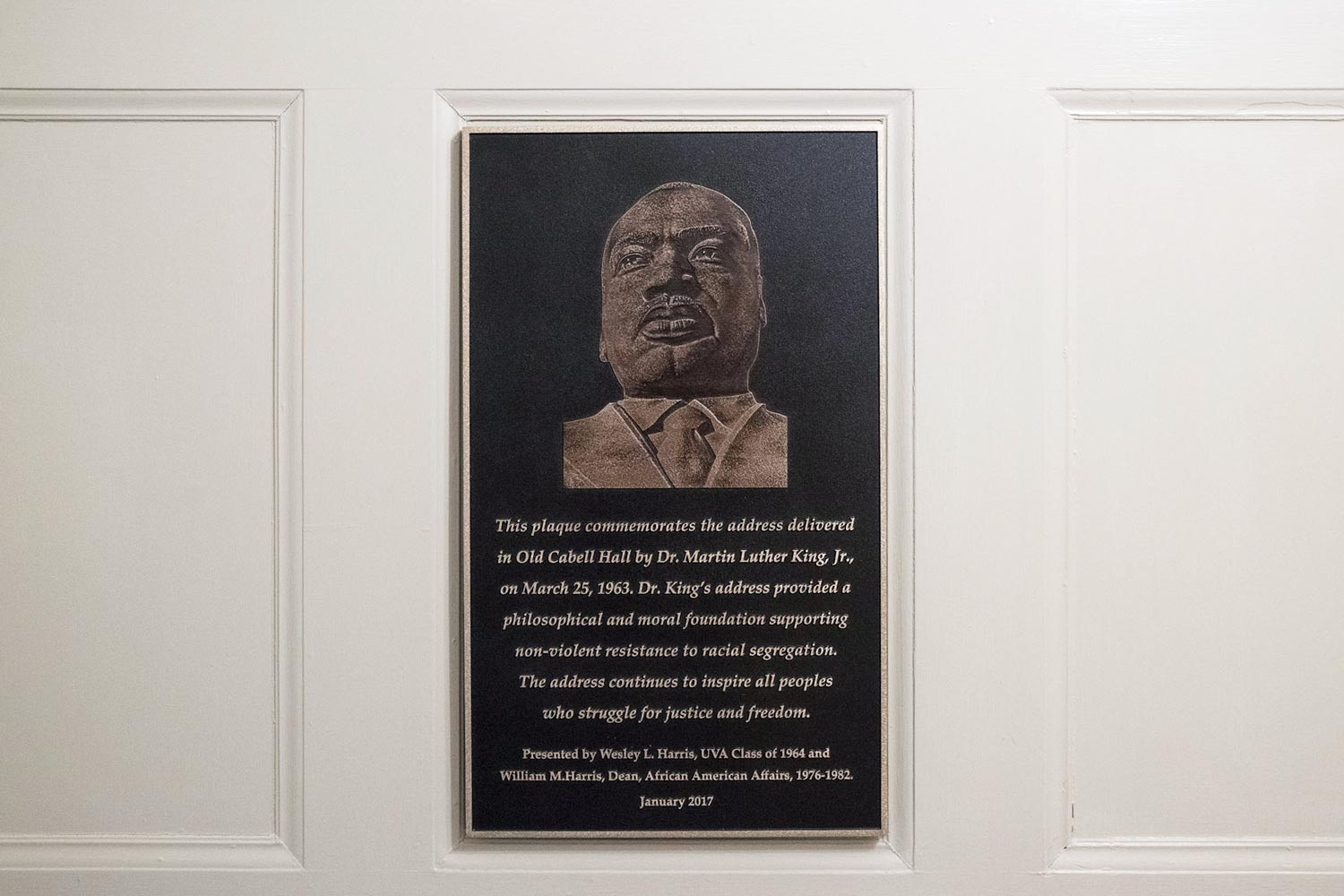 UVA recognized King's 1963 speech on Grounds in January 2017 with a plaque in Old Cabell Hall, a gift from brothers Wesley and William Harris.