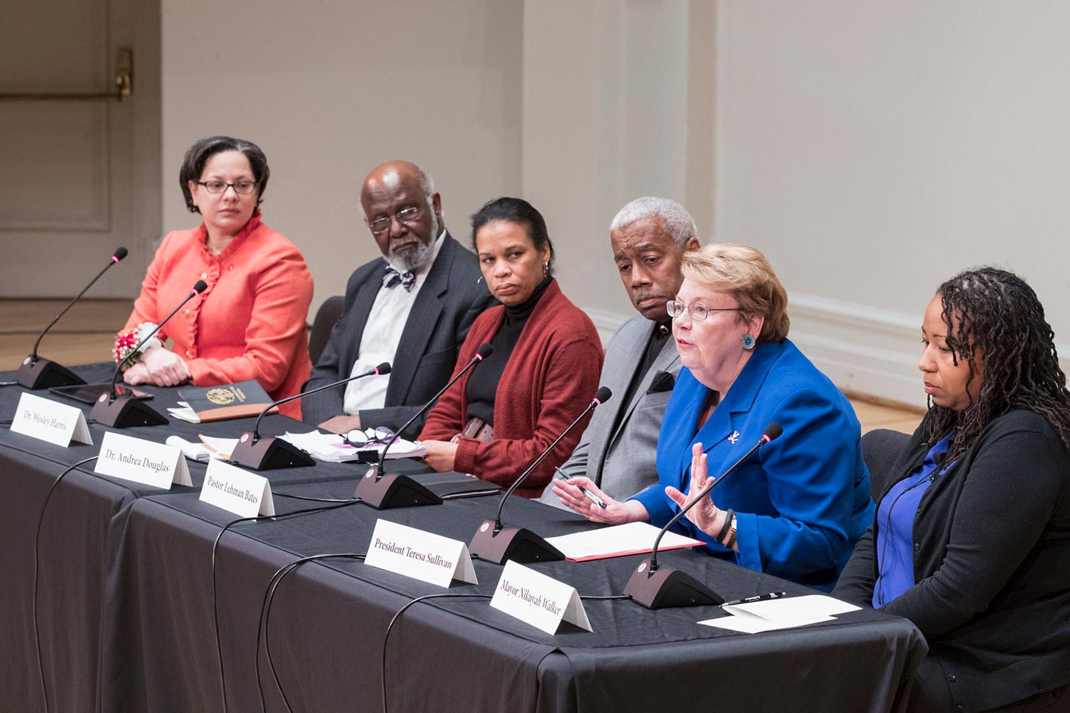 "State Sen. Jennifer McClellan (left), who chairs the state's Dr. Martin Luther King Jr. Memorial Commission, and the panel of distinguished leaders, including UVA President Teresa Sullivan (second from right), reflected on King's vision of a ""beloved community."""