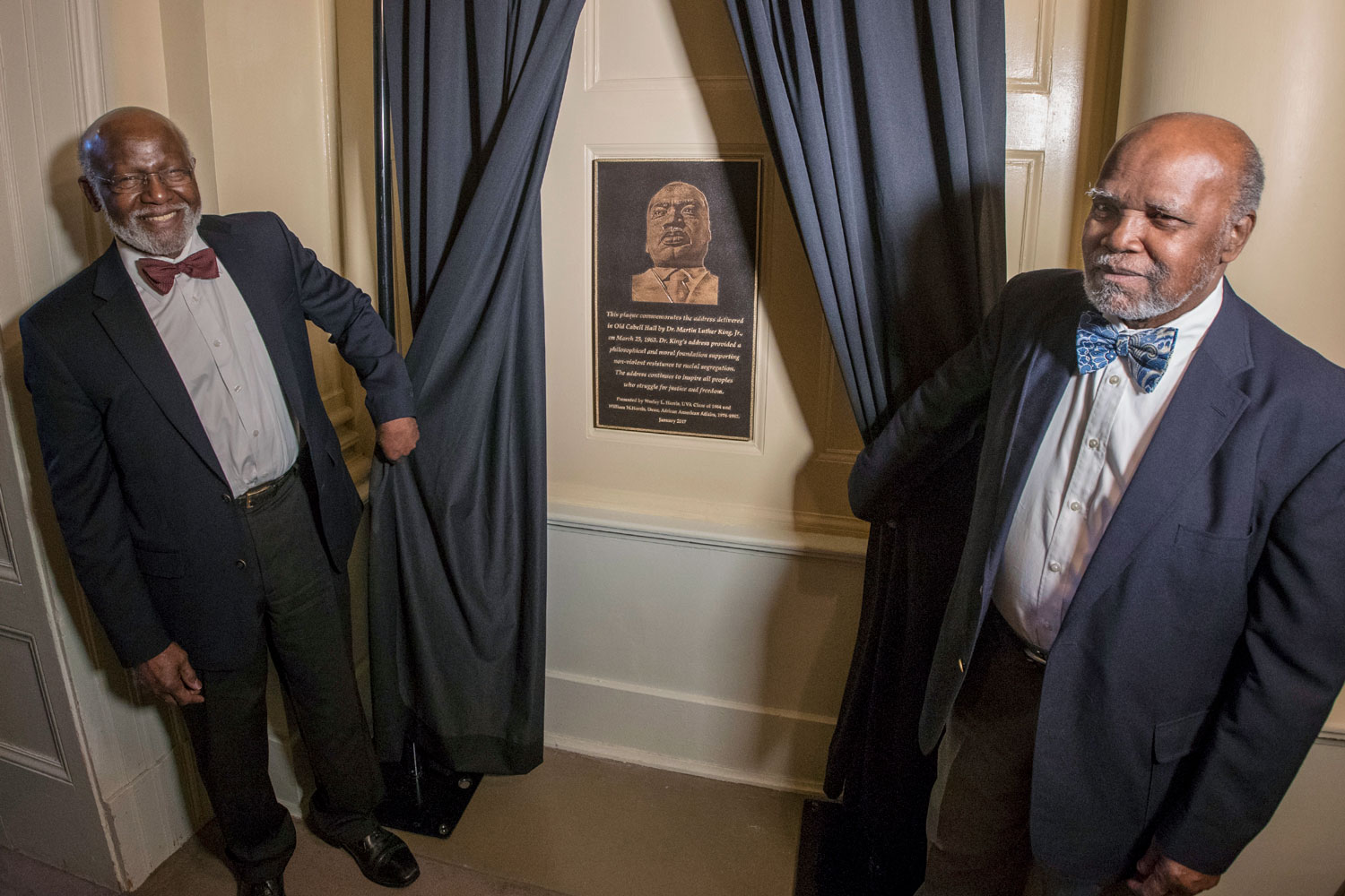 Last January, brothers Wesley and William Harris presented a plaque commemorating Rev. Dr. Martin Luther King Jr.'s appearance at UVA March 25, 1963.