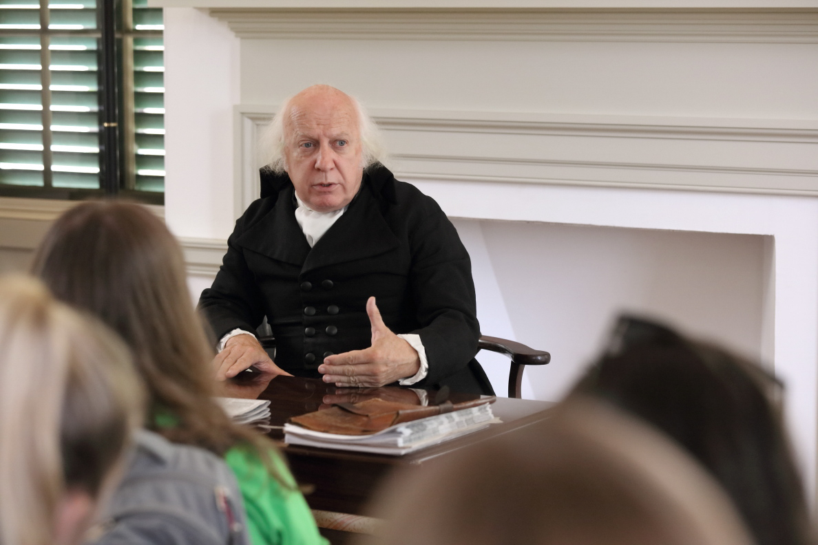 "During their tour of the Montpelier house and grounds, students had the opportunity to visit with ""Mr. Madison"" himself."
