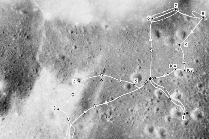A map of the Apollo 17 lunar mission at Taurus-Littrow Valley. The numbers represent the sites where the crew stopped to take samples. (NASA photo)