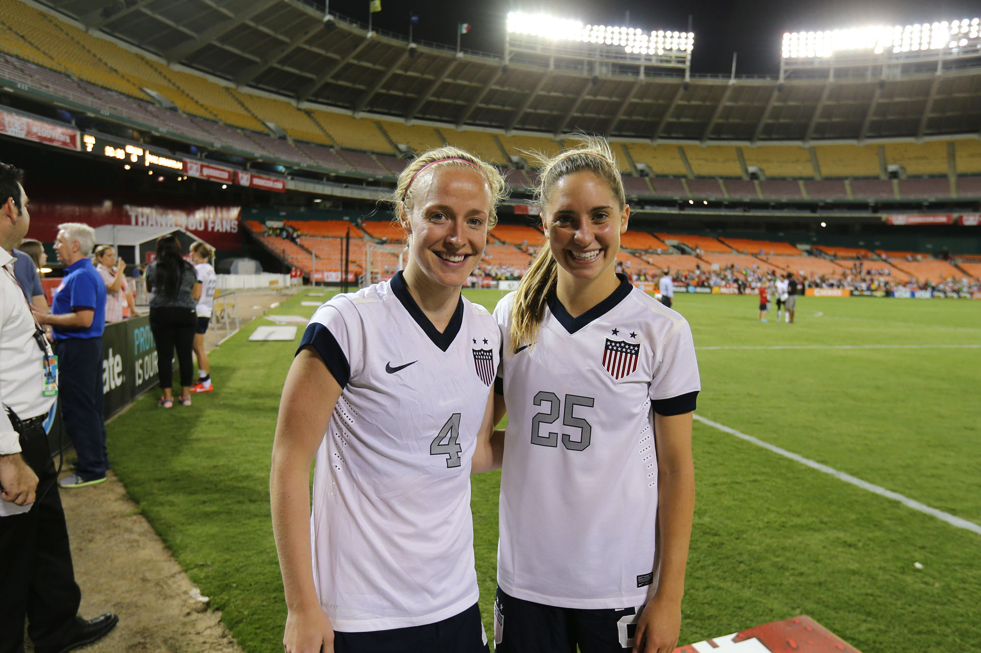 "Former Cavaliers Becky Sauerbrunn and Brian. ""It was the game I scored my first women's national team goal,"" Brian said. ""All of my teammates from UVA traveled to D.C. for the game and I remember them going crazy on live television. Becky and I will alway"