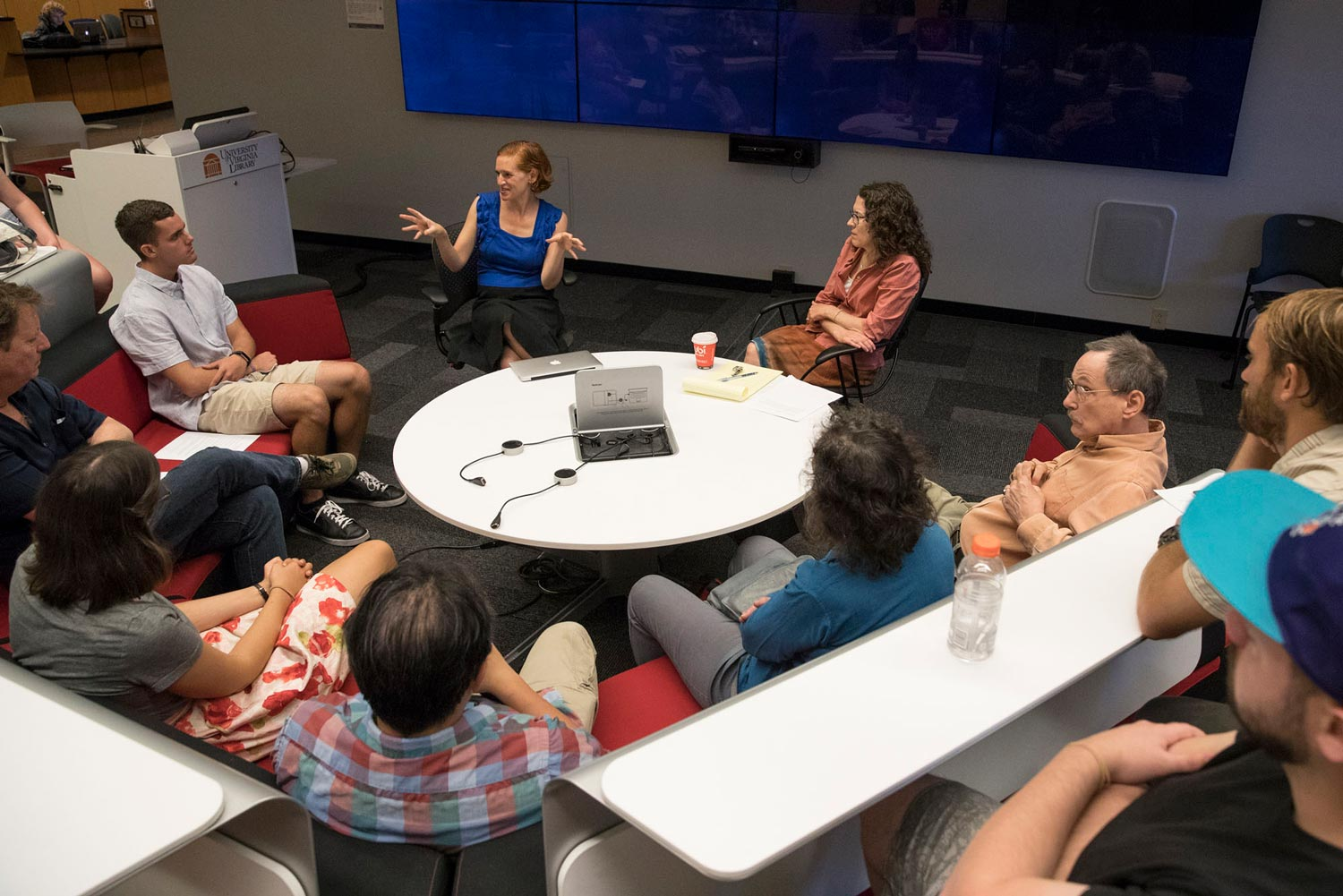 Rachel Wahl, an assistant professor in the Curry School of Education, led a discussion on activism before sessions were suspended on Aug. 12.