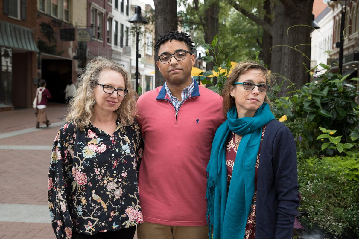 School of Education professor Nancy Deutsch, left, and music professor Bonnie Gordon, right, are faculty directors at the Equity Center; Daniel Fairley, center, is a member of the local steering committee.